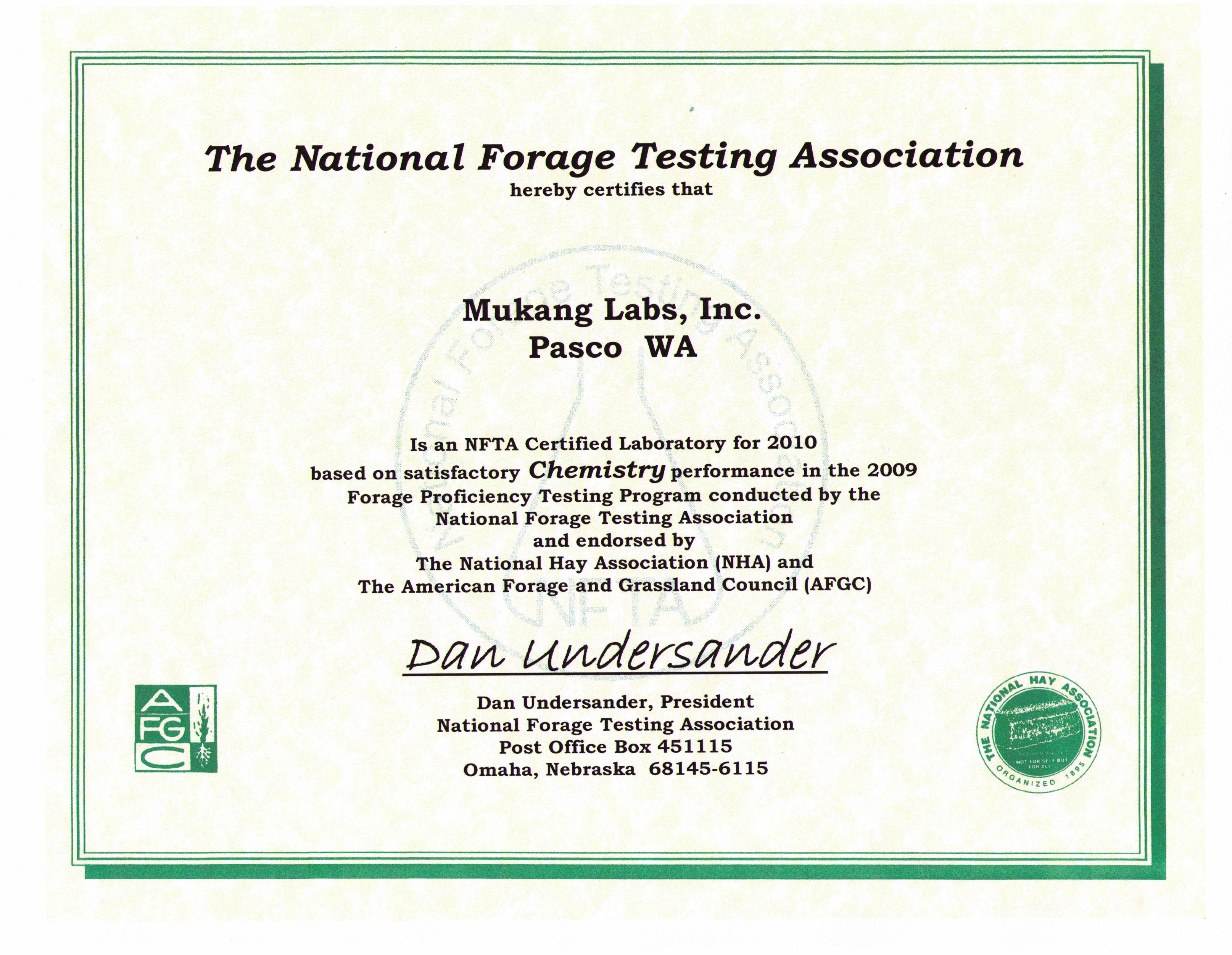 Mukang labs qaqc here is our certificate for forage alfalfa grass corn silage etc testing from the national forage testing association nfta and endorsed by the yelopaper Images